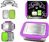 ECOtanka 2,0l lunchBox mit violettem Verschlussrahmen 1x pocketBOX | Ideal für Kinder, Ausflüge, Büro, Schule und Outdoor Camping | Brotdose Bento Box | aus hochwertigem, rostfreien Edelstahl (304) | ökologisch, nachhaltig - BPA frei – robust und langlebig – Edelstahldose | Umweltfreundlich Speisen mitnehmen