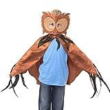 Eulen Umhang Kostüm mit Maske - Eule Kostüm Karneval - 3-8 Jahre alt - Slimy Toad