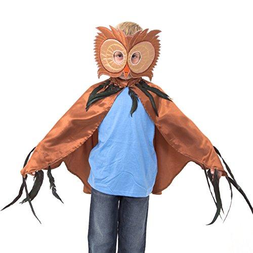 Kostüm Eule Federn - Eulen Umhang Kostüm mit Maske - Eule Kostüm Karneval - 3-8 Jahre alt - Slimy Toad