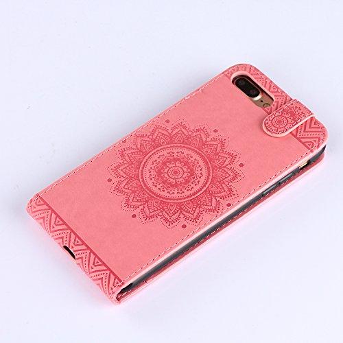 iPhone 8 Plus Hülle Leder Rose Gold,Ultra Slim Exklusive Echtleder Tasche Handyhülle für iPhone 7 Plus,BtDuck 360 Grad Flip Case Vertikal Klappbar aus Echtleder Flip Cover Hülle Lanyard Ledertasche Wa #6 Rosa