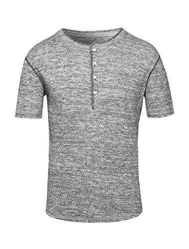 Maratus Herren Kurzärmeliges Bio Henley-T-Shirt Aus Rippstrick Fair Wear Grau