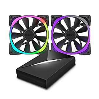 NZXT Aer RGB 120mm Fan Dual Pack with Hue+ Controller - 2x 120mm PWM Fan, 500-1500 RPM, Designed for Hue+ Lighting Hub, CAM-Powered - RF-AR120-C1