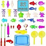 Badespielzeug, 32 Stück Magnetisches Fischen-Spielzeug-wasserdichtes sich hin- und herbewegendes Fischenspiel in der Badewanne Badezimmer-Pool-Bad-Zeit-Lernen Bildung für Jungen-Mädchen-Kleinkind-Kind, Sommer-Wasser-Spielwaren, die Spielzeug für Kinder Partei fischen