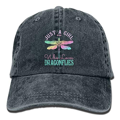 (Nizefuture Just A Girl Who Love Dragonfly Denim Hat Adjustable Men's Low Baseball Cap)