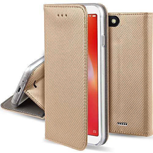 Moozy Funda para Xiaomi Redmi 6A, Dorado - Flip Cover Smart Magnética con Stand Plegable y Soporte de Silicona