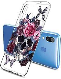 Suhctup Transparente Funda Compatible con Samsung Galaxy S10E,Carcasa Protectora de TPU Ultradelgada Flor y Calavera Diseño Anti-Choques Resistente Case Cover para Samsung Galaxy S10E(6)