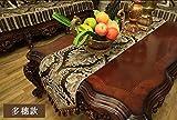 Lartum Tischfahne Braun Rechteckig Im Europäischen Stil Mit Modernem Luxus Tischläufer Für Couchtisch Und Hochzeit Mehrfarbige Stickerei Floral Designmit Quasten, 33 X 200 cm