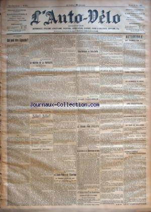 AUTO VELO (L') [No 219] du 21/05/1901 - ALPINISME - QUI PEUT ETRE ALPINISTE ? PAR A. DE MONTERGON - LE MEETING DE LA PENTECOTE - LA REVANCHE PAR F. MERCIER - ALLO ! ALLO ! - POINT NOIR ! PAR H. DESGRANGE - +¼L'AUTO-VELO+« ET L'ESCRIME - LE TOURNOI D'EPEE DE 1901 - LE PRIX DE +¼L'AUTO-VELO+« - LE PRIX DU MARQUIS DE DION - PARIS-BORDEAUX ET PARIS-BERLIN PAR GEORGES PRADE - AVANT PARIS-BERLIN PAR G. P. - LE GRAND PRIX CYCLISTE - LA TRAVERSEE DE MEDITERRANEE EN BALLON PAR S. par Collectif