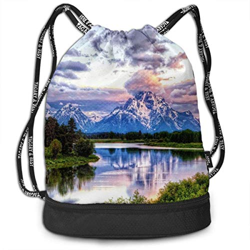 ewtretr Turnbeutel Hipster Sporttaschen Drawstring Bag Grand Teton Snowy Mountains Lake Tree Landscape Shoulder Bags Travel Sport Gym Bag Print - Yoga Runner Daypack Shoe Bags with Zipper