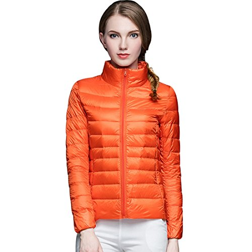 GWELL Damen Ultra Leicht Daunenjacke Winter Mantel Übergangsjacke orange L (Mantel Winter Orange)