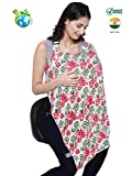 #6: Feather Hug Nursing Cover for Breastfeeding mother, women, Mom, Multi Use, Feeding Apron Cloak,Poncho, scarf, ups, Wrap, Breathable, Canopy, Babysitting, Maternity, Kurti, Shawl, Poplin(Red Green Floral)