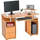 TecTake Mesa de ordenador de escritorio estudiante PC trabajo 2x cajón - haya -
