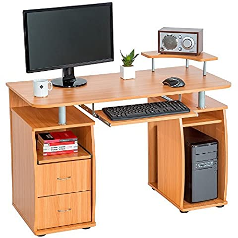 TecTake Computer desk table office workstation with keyboard shelf and 2 drawers - beech -