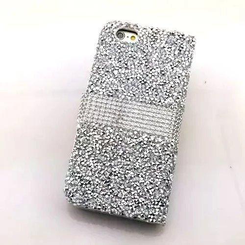 Strass Case pour iPhone 6 6S Coque, Sunroyal Bling Bling Diamant Shell en PU cuir Portefeuille Universelle Flip Bookstyle Back Cover de Protection Pare-Chocs Téléphone Wallet Case Design 3D Cristal Sp Glitter Argent