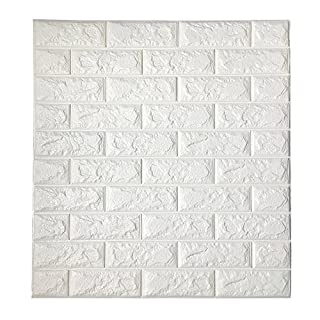 3D Brick Wallpaper, PE Foam Self-adhesive White Brick Wall Stickers for TV Walls / Sofa Background Wall Decor/Bedroom Living Room, DIY Wall Stickers Embossed Brick Stone