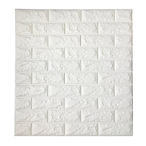 Price comparison product image 3D Brick Wallpaper,  PE Foam Self-adhesive White Brick Wall Stickers for TV Walls / Sofa Background Wall Decor / Bedroom Living Room,  DIY Wall Stickers Embossed Brick Stone
