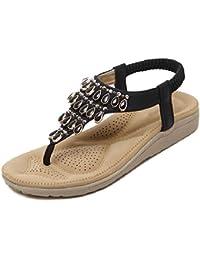 YMFIE Strass estivi bohémien, zeppe, sandali, signore, moda casual, scarpe da spiaggia antiscivolo, 35 EU, oro