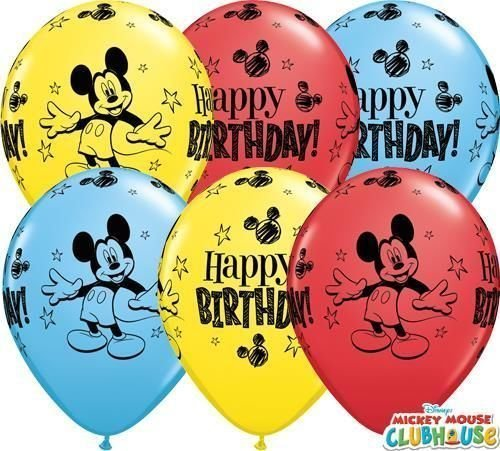 "Image of Mickey Mouse Happy Birthday 11"" Qualatex Latex Balloons x 10"