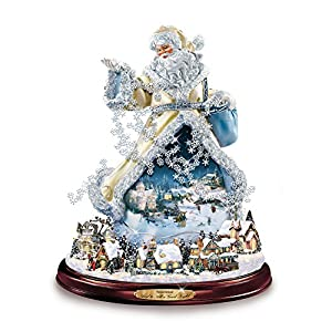 515ZDEzYj7L. SS300  - The Bradford Exchange And To All A Good Night - Moving Santa Claus Tabletop Figurine by Thomas Kinkade