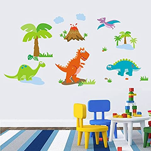 Winhappyhome Cute Cartoon Dinosaurs Zoo Kids Wall Stickers for Bedroom Living Room Nursery Background Home Decor Removable Mural Decals