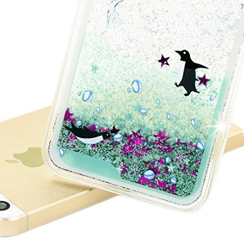 iPhone 6 Hülle, iPhone 6S Schutzhülle, Hamyi Glänzend 3D Dynamisch Flüssigkeit Funkeln Treibsand transparent Hart Kunststoff Schalen für iPhone 6 und iPhone 6S (4,7 Zoll) (Die Hamsa Hand) Schwarz Pinguin