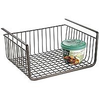 Cesta almacenaje colgante mDesign de acero de alta calidad en color bronce - Cesto almacenaje perfecta para la cocina o despensa