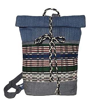 Damen Rucksack klein mit Ethno Motiven Denim Schultasche bunt Tagesrucksack nachhaltig aus Jeansstoff mit Fronttaschen Weihnachtsgeschenk für Frauen Mädchen