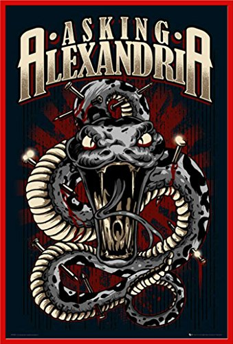 Empire-Poster: Asking Alexandria, motivo: serpente con Articolo supplementare) Kunststoff-Rahmen Rot