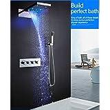 hm Ensemble de douche thermostatique à LED de 22 po Rain et cascade Pomme de douche Eau Saving Valise de douche à main Cascade Robinets de bain et de douche SPA