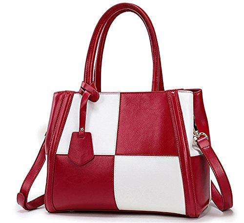 Xinmaoyuan Borse donna ha colpito il colore cuoio grande capacità obliqui di spallamento Cross borsetta,rosa rosso Vino rosso