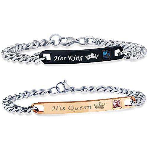 Uloveido Ein Paar Titan Seine Königin und Ihr König Paare Armband Edelstahl Cuban Link Kette Armbänder Hochzeit Männer und Frauen SN116-Paar (Frauen Cuban Für Link-armband)