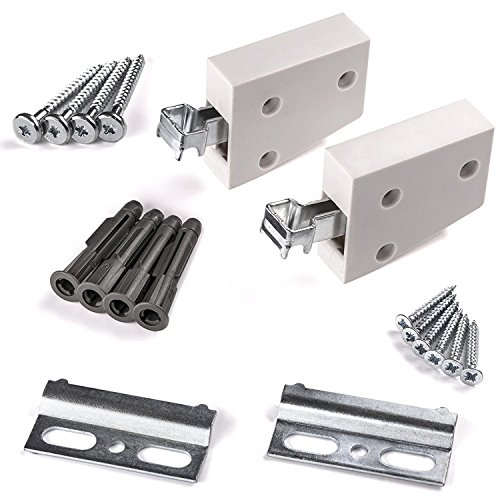 Schrank Aufhänger (2 x SO-TECH® Schrankträger KOMPLETTSET weiß Wandhalter Schrankhalter Tragkraft 120 kg)