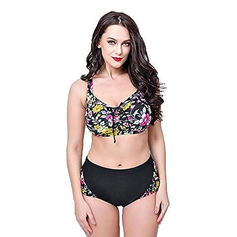 WANGXN Womens Split Swimsuit Bikini Floral Print Grande taille Push High , black , 52