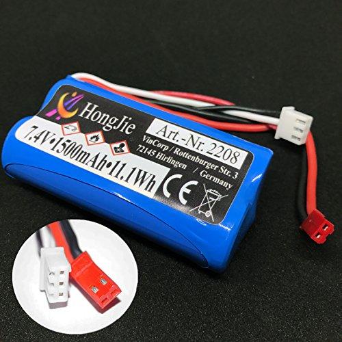 VINCORP  Li-Ion Akku 7.4V 1500mAh Batterie 18650 15C Ersatzakku RC Helikopter MJX F645 F45 Revell Big One Amewi Skyrider Double Horse Hubschrauber-Modelle 9053, 9050, 9101, 9104, 9115, 9118, LT-711, LT-713, F45/F645, T55, Egofly LT-711, LT-713, Rayline R902 ( auf/abwärt kompatibel mit z.b 1000mAh o. 2000mAh )