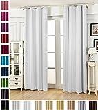 WOLTU #489, Vorhang Gardinen Blickdicht mit kräuselband für schiene, Leichter & weicher Verdunklungsvorhang für Wohnzimmer Schlafzimmer Haustür, 135x175 cm, Weiß (Hinter: Grau), (1 Stück)