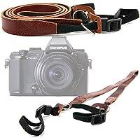 DURAGADGET Correa de cuero para cámara Olympus OM-DE-M5 , PEN E-PL7 , E-PL8 , PEN-F , SH-2 , Stylus 1s - Color marrón.