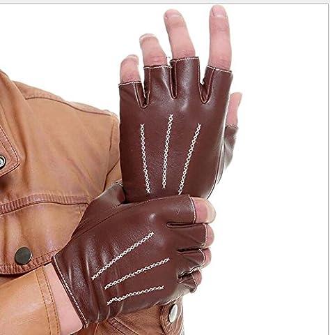 Unisexe 1/2 Finger Fingerless Cuir d'agneau Locomotive Gants sans doublure Poignet Bouton Couple Mitaines Photographe / Peintres Gants Motocyclette Fitness Cyclisme Chasseur Protecteur de conduite ( Color : Brown , Size : S )