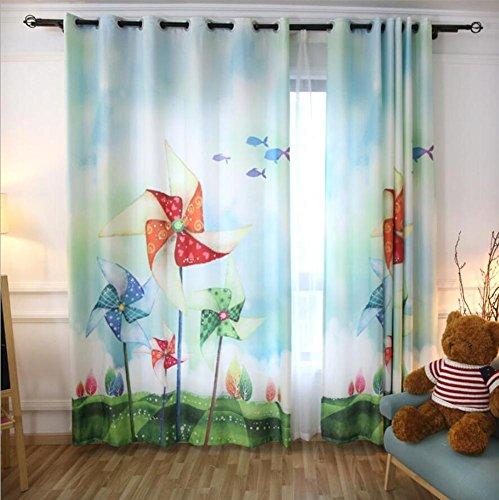Bambini semi-shading piega le tende,3d multicolore mulino a vento stampa,ragazzi e ragazze tenda per camera da letto practical tende per finestre,(1 pannelli) , a