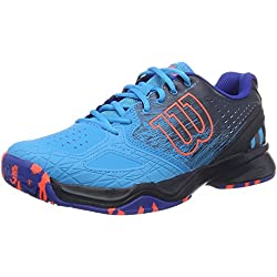 Wilson Kaos Comp, Zapatillas de Tenis para Hombre, Multicolor (Hawaiian Ocean/Navy Blazer/Fiery Co), 45 1/3 EU