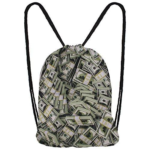 Hanessa Jutebeutel mit - $ Dollars - Art Kunst Motiv Aufdruck Sportbeutel Tüte Rucksack Beutel Tasche Gym Bag Gymsack Hipster Fashion Sport-tasche Einkaufs-tasche