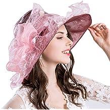 wuxi Sol De Verano Sombrero Dama Ascot Boda Organza Sombreros Sombrero De  ala Ancha con Plump ac6fd8d7059