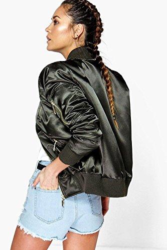 Damen Khaki Faye MA1-Bomberjacke aus Satin mit Reißverschlussapplikation Khaki