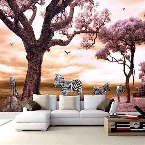 Qqasd costom Tapete Super Clear Dream Red Maple Hintergrund Wandbilder 3D Wohnzimmer Korridor Dekorative 3D Wallpaper-430X300CM