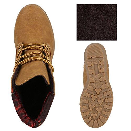 Damen Keilstiefeletten Profil Sohle Worker Boots Stiefeletten Hellbraun Rot