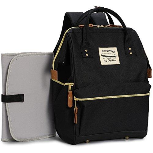 Preisvergleich Produktbild Wide Open Designer Baby Windel Rucksack von moskka-travel Bag, Windel Tasche w/kinderwagenhalter, Wickelunterlage & Isolierte Tasche Für Mom & Dad–Schwarz