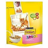 Multipack da 6 Friskies Crocchette Junior al Gusto Pollo Latte e Verdure Aggiunte Alimento Ideale per Gatti Confezione da 375 Grammi Ciascuna