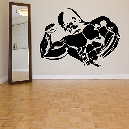guijiumai Mode Muskelmann Sport Bodybuilder Gym Fitness Wandkunst Vinyl Wandtattoos Aufkleber Fitness Center Room Home Dekoration grau S 55 X 88 cm