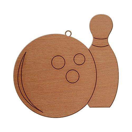 Rommie Bowlingkugel und Anstecknadel aus Holz, Weihnachtsdekoration, Holz, mit Ausschnitt, personalisierbar