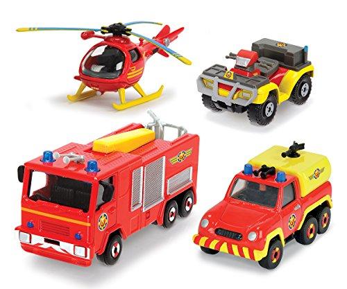 feuerwehrmann sam gelaendewagen DICKIE Toys 203099630401 - Feuerwehrmann Sam Fahrzeugset, 4-teilig, Miniaturfahrzeuge, Die-Cast Metall, Jupiter, Wallaby, Venus, Mercury