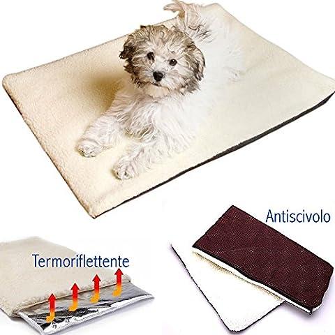 DOBO® Morbido tappetino a tre strati per cani gatti e animali domestici termo riscaldata riflette il calore calda copertina antiscivolo per il vostro fido compagno (90 X 64 CM)